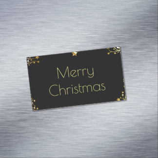 Merry Christmas Stars Black Gold Stylish Chic Business Card Magnet