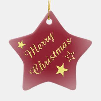 Merry Christmas Stars Customizable Text Ceramic Ornament