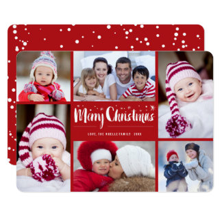 Merry Christmas Stars Holiday Photo Collage Card