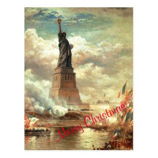 Merry Christmas Statue of Liberty Postcard
