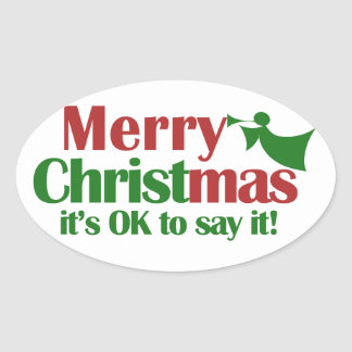 Merry CHRISTmas Oval Sticker