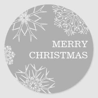 Merry Christmas Stickers - Envelope Seals - Silver