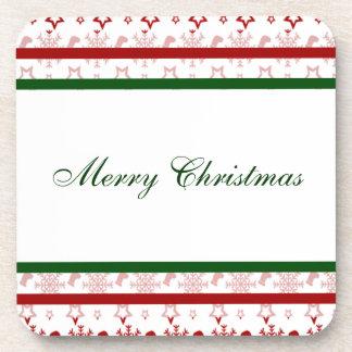 Merry Christmas Stockings and Snowflakes Coaster