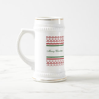 Merry Christmas Stockings and Snowflakes 18 Oz Beer Stein