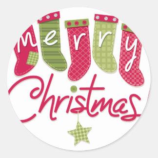 Merry Christmas Stockings Classic Round Sticker
