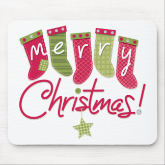 Merry Christmas Stockings Mouse Pad