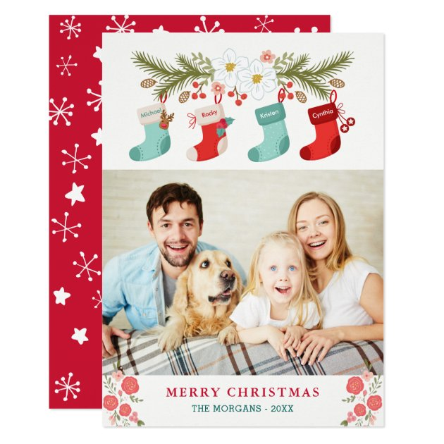 Merry Christmas Stockings Names Pet Family Photo Card