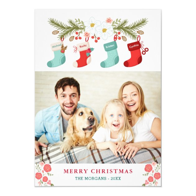 Merry Christmas Stockings Names Pet Family Photo Card (back side)