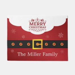 Merry Christmas Stylish Santa Suit Belt Welcome Doormat