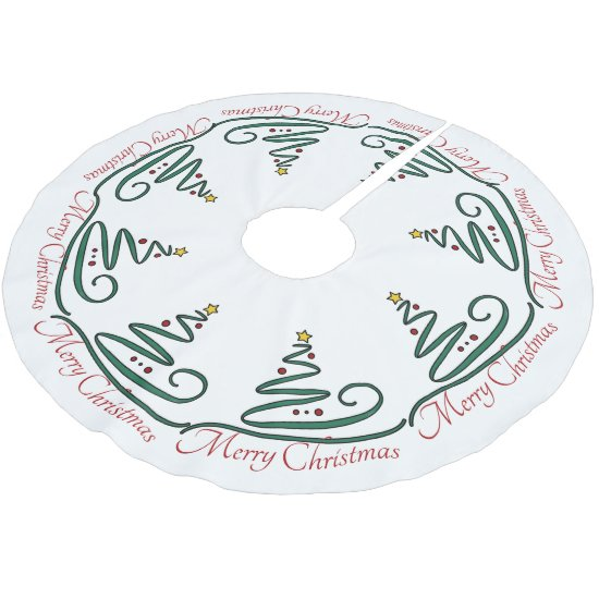 Merry Christmas, Stylized Christmas Tree - Skirt Brushed Polyester Tree Skirt