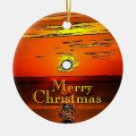 Merry Christmas Sunset Ornament