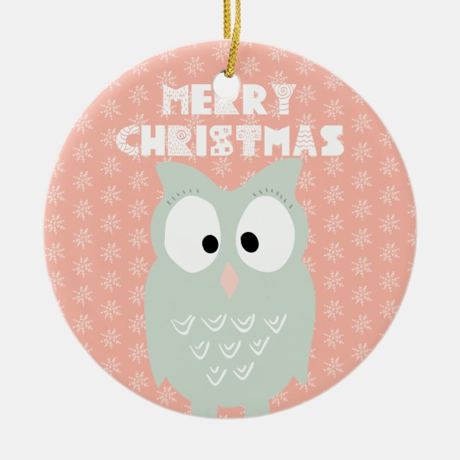 Merry Christmas - Sweet Green Owl Cartoon