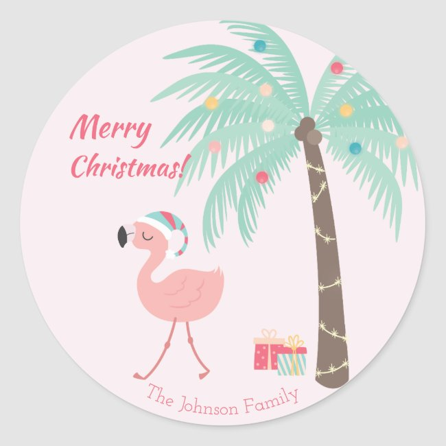 Merry Christmas - Sweet Tropical Santa Flamingo