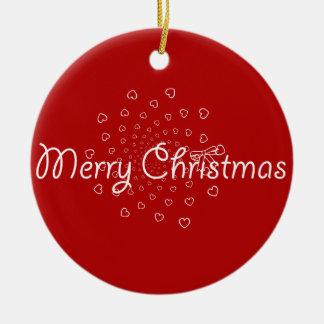 Merry Christmas Swirl Hearts Ornament