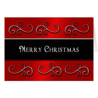 MERRY CHRISTMAS - SWIRLS -  RED/BLACK/SILVER CARD