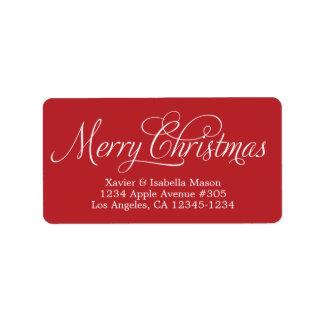 Merry Christmas Swirly Script Address Label