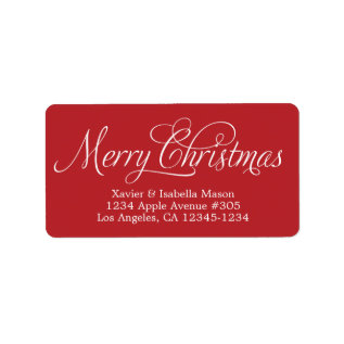 Merry Christmas Swirly Script Label at Zazzle