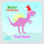Merry Christmas T-Rex Dinosaur Name Stickers