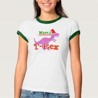Merry Christmas T-Rex Dinosaur Name T-Shirt