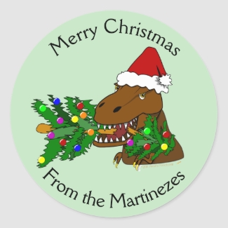 Merry Christmas T-rex Dinosaur Stickers Your Name