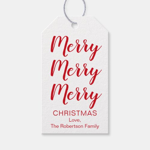 Merry Christmas Tags in Red or Your Color Choice