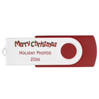 """""""Merry Christmas"""" Tartan Typography -Personalized Flash Drive"""