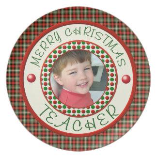 Merry Christmas Teacher Custom Photo Dinner Plate