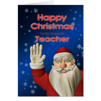 Merry Christmas teacher, Santa waving Card