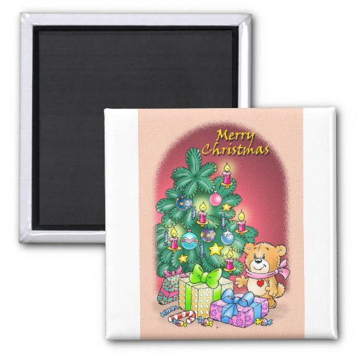 Merry Christmas Teddy Bear 2 Inch Square Magnet