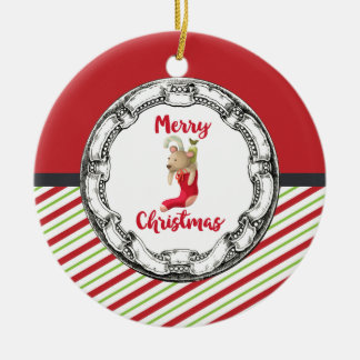 Merry Christmas Teddy Bear In Vintage Circle Ceramic Ornament