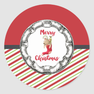 Merry Christmas Teddy Bear In Vintage Frame Classic Round Sticker