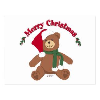 Merry Christmas Teddy Bear Postcard