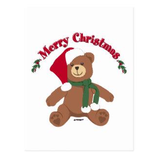 Merry Christmas Teddy Bear Post Cards
