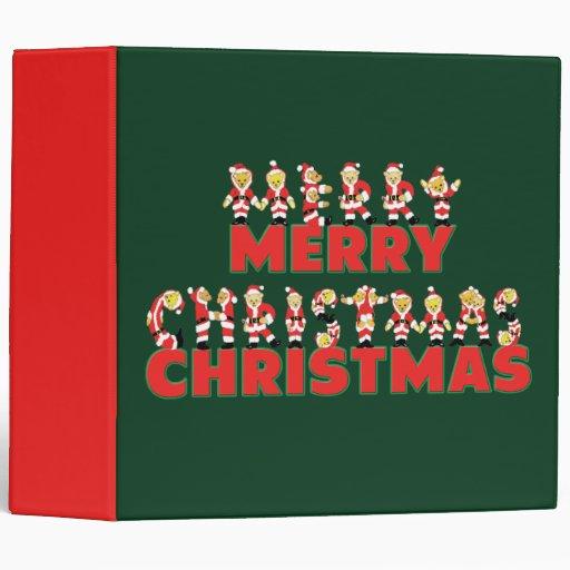 Merry Christmas Teddy Bear Santa Claus Letters 3 Ring Binders