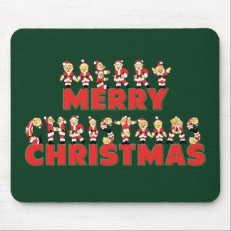Merry Christmas Teddy Bear Santa Claus Letters Mouse Pad