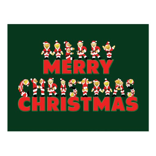 Merry Christmas Teddy Bear Santa Claus Letters Postcard
