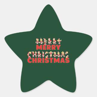 Merry Christmas Teddy Bear Santa Claus Letters Star Sticker