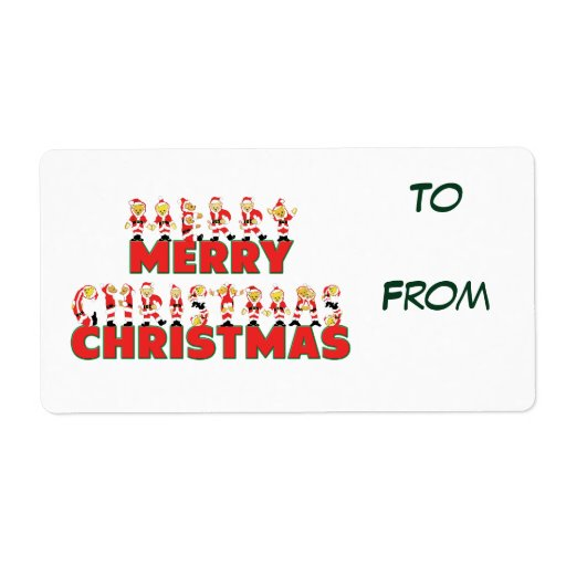 Merry Christmas Teddy Bear Santa Letters Gift Tags Shipping Label