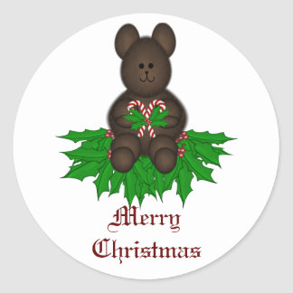 Merry Christmas Teddy Classic Round Sticker