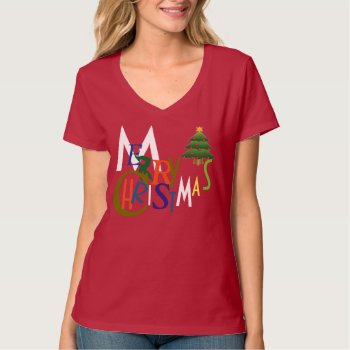 Merry Christmas Tee Shirt by CREATIVEforHOME at Zazzle