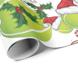 Merry Christmas Tennis Ball Santa Wrapping Paper