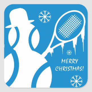 Merry Christmas Tennis Holiday party favor Square Sticker