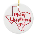 Merry Christmas Texas State Tree Ornament