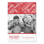 Merry Christmas Text Design 5x7 Flat Card Personalized Invites