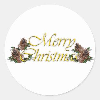 Merry Christmas Text Design Classic Round Sticker