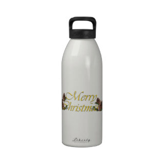 Merry Christmas Text Design Water Bottles