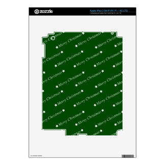 Merry Christmas Text green iPad 3 Skins