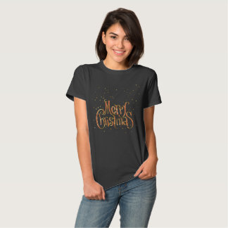 Merry Christmas Text In Red And Gold Glitter T-Shirt
