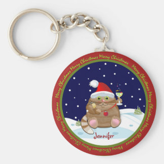 Merry Christmas text magnet with Santa Cat Keychain