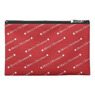 Merry Christmas Text on Red Travel Accessory Bag
